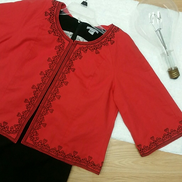 Victor Costa Jackets & Blazers - Victor Costa Occasion Red Embroidered Jacket